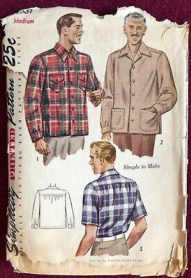 1940s Men's Shirts, Sweaters, Vests Vintage 1940's Simplicity Pattern 1961 Men's Shirt Size Med 15 / 15-1/2 $7.99 AT vintagedancer.com