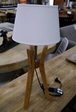 New Natural Bamboo Tripod White Linen Drum Shade Table Lamps Melbourne CBD Melbourne City Preview