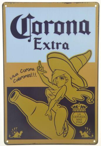 "CORONA EXTRA VIVA CHICA BEER TIN METAL SIGN RETRO PLAQUE BAR MAN CAVE 8x12"" NEW"