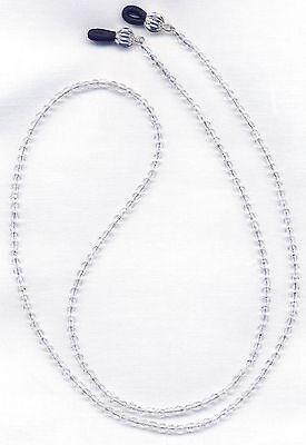 CLEAR Czech CRYSTAL Eyeglass~Glasses Holder Necklace Chain *Custom Length*