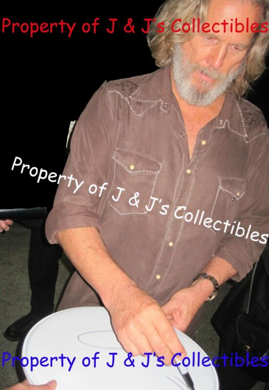 Jeff Bridges signed RARE Sketch on Drumhead, ONE OF KIND!, Exact Proof, PSA/DNA