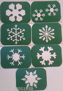 Pack of 7 Snow flake -3Vinyl Tattoo Body Art Stencils Glitter-Airbrush  Art