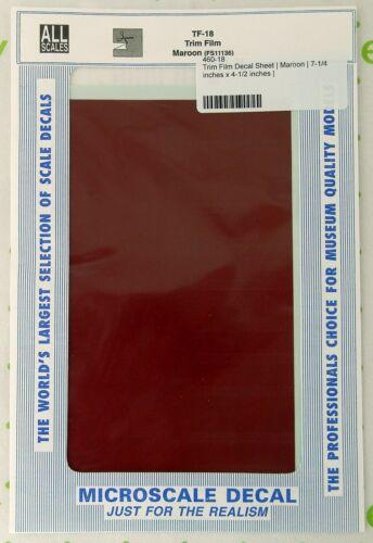 "All Scale Trim Film - Maroon- Microscale #TF-18 (Size: approx. 4-1/2"" x 7-1/2"")"