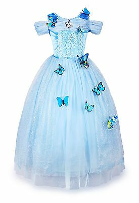 Dressing Up Kids (Cinderella Dress Girls Princess Costume Party Dress Up Butterfly Kids Cosplay)