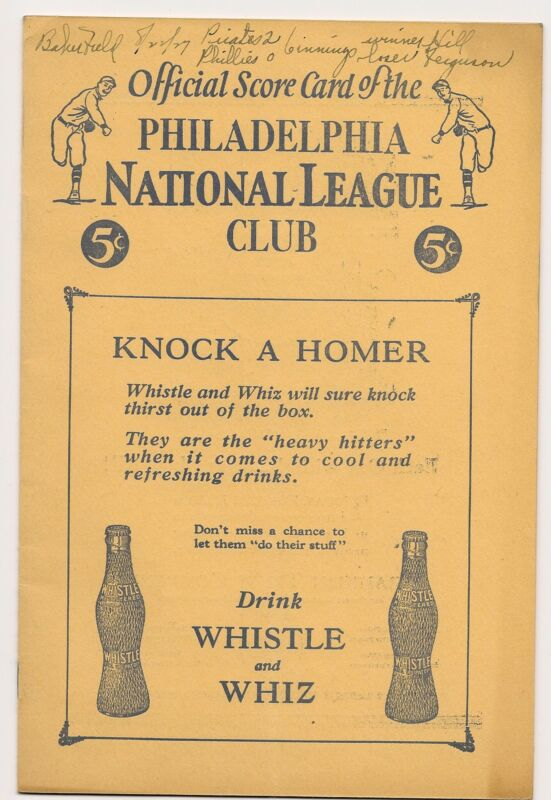 1927 Philadelphia Phillies-Pirates Program Clubs Deadlocked Baker Bowl Beauty!!