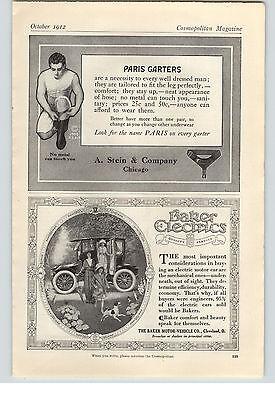 1912 Paper Ad Baker Electric Car Cleveland  Paris Men's Garters A Stein & Co