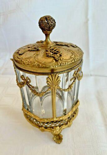 Lovely Antique French Baccarat Style Gilt Ormolu Glass jar Dancing Ladies
