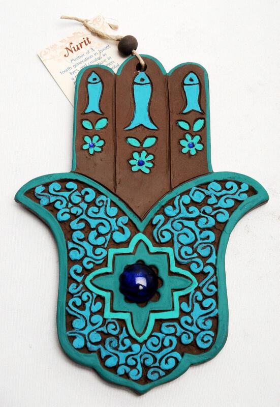 Hamsa+Hand+Wall+Hanging+Evil+Eye+Kabbalah+Luck+New+Ceramics+from+holy+land+%23625