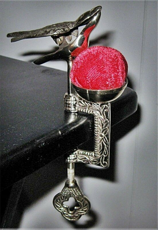Brass SEWING CLAMP with VICTORIAN BIRD DESIGN AND RED VELVET PIN CUSHION
