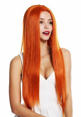 Perücke Damenperücke sehr lang glatt Mittelscheitel Orange-Rot - Rot Orange Perücke