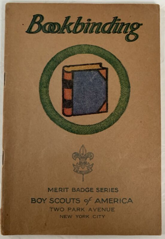 Boy Scout Merit Badge Book Brown Cover Type 3 Bookbinding