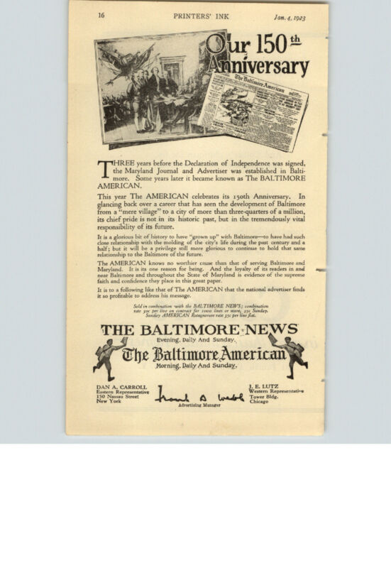 1923 PAPER AD Newspaper Baltimore News American Collier