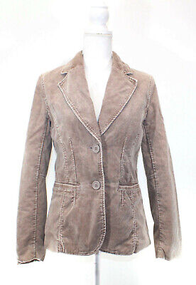Womens H&M Taupe Brown Corduroy Button Front Fitted Blazer Jacket Size 8