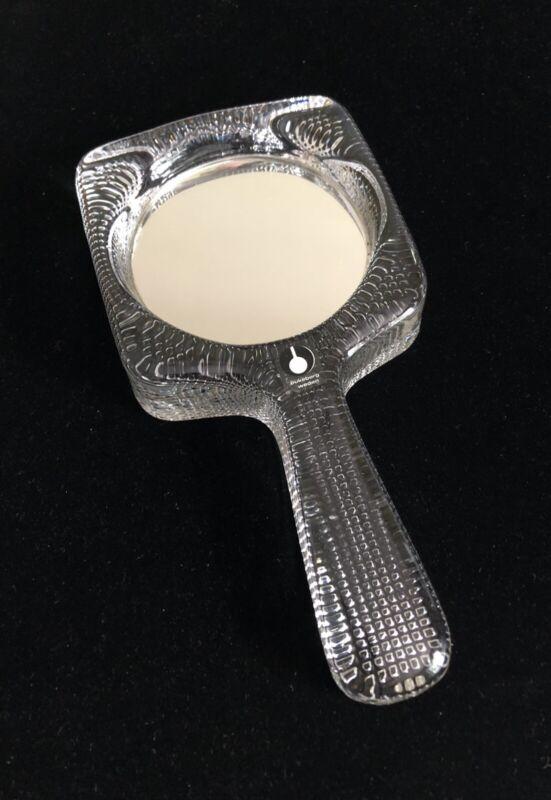 Pukeberg Sweden Mid Century Modern Textured Art Glass Hand Mirror