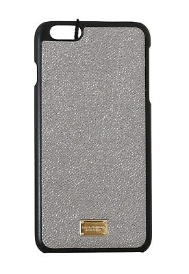 NEW $180 DOLCE & GABBANA Phone Case Gray Shiny Dauphine Leather iPhone6 Plus