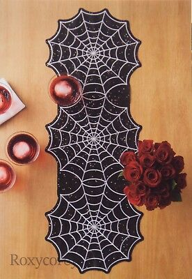 Celebrate Halloween Together Spiderweb Spider Web 13x36 Table Runner NWT