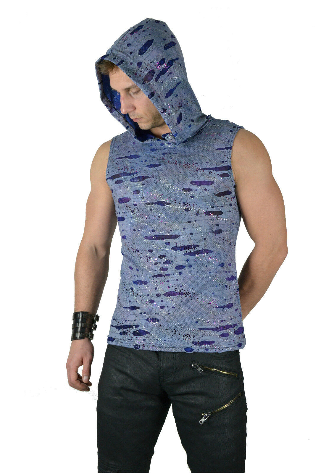 SHRINE GOTH RAVE PUNK CYBER EMO TECHNO BURNING MAN PURPLE DECAYED SHIRT HOODIE Activewear