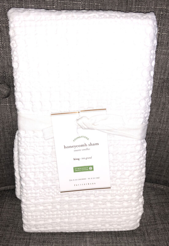 Pottery Barn Honeycomb King Sham in White NEW
