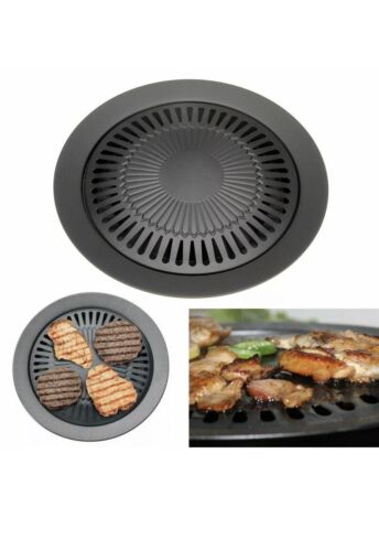 Non-Stick Round Smokeless Indoor Barbecue Grill Pan with Brush BBQ Roast Tray#TD