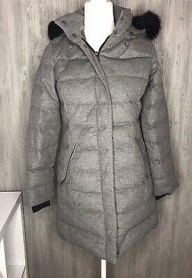 UGG Celeste Wool Down Puffer Grey Coat Jacket Toscana Hood Fur Collar Size M