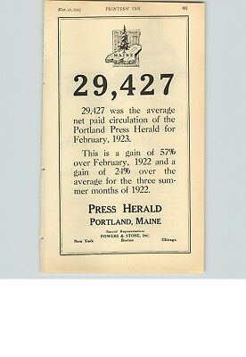 1923 Paper Ad Newspaper Press Herald Portland Maine Rand Mcnally Map System