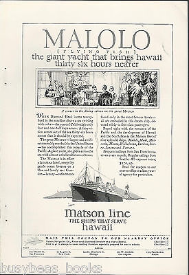 1927 Matson Lines Advertisement  Malolo  Hawaii Cruises