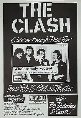 """THE CLASH/BO DIDDLEY """"GIVE'M ENOUGH ROPE TOUR"""" 1979 WASHINGTON DC CONCERT POSTER"""