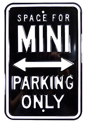 Classic Mini - Metal No Parking Black And White Sign Raised Letters - PARK38K