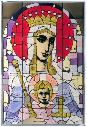 "Silver Creek Madonna & Child ~ Religious Art Glass Suncatcher ~ 14"" x 20.5"""