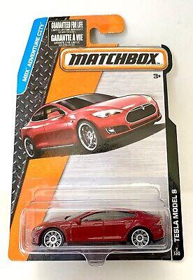 Matchbox #7 Tesla Model S MBX Adventure City Red 1:64 Scale