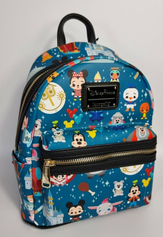 DISNEY PARKS EXCLUSIVE LOUNGEFLY MAGIC KINGDOM PARK ICONS ATTRACTIONS BACKPACK-