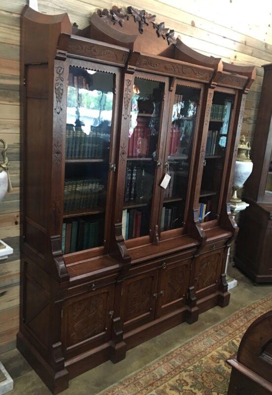 Monumental Walnut Breakfront Bookcase, Circa 1875 Philadelphia