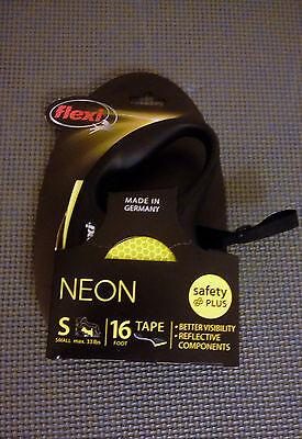 Flexi Neon Reflect Black & Neon Yellow Retractable Tape Dog Leash, Small