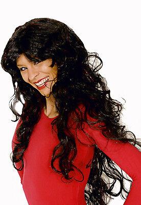 Sue Teufel Kostüm (süße Damen Perücke zB Kostüm TEUFEL Hexe lange Locken schwarz m roten)