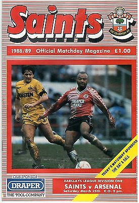 Football Programme. Southampton v Arsenal, 25 March 1989. Saints