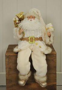Sitting Father Christmas / Santa Claus Figure Decoration Ornament - White