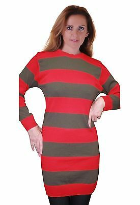 Freddy Krueger Sweater Dress (Womens Halloween Red And Green Freddy Krueger Fancy Dress Strippe Knitted)