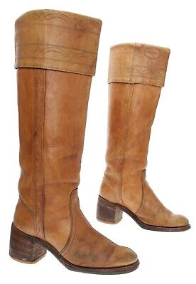 MISS CAPEZIO Boots USA 6 M Womens KNEE HIGH Leather VTG CAMPUS Motorcycle Boots