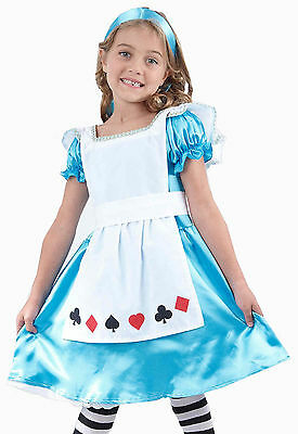 Alice Wonderland Costumes (Girls Child Kids ALICE IN WONDERLAND Fancy Dress Costume Fairy Princess Age)