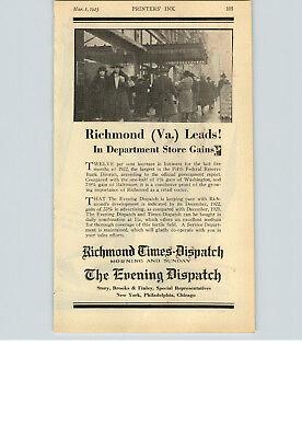 1923 Paper Ad Newspaper Richmond Times Dispatch Evening Story Brooks Finley