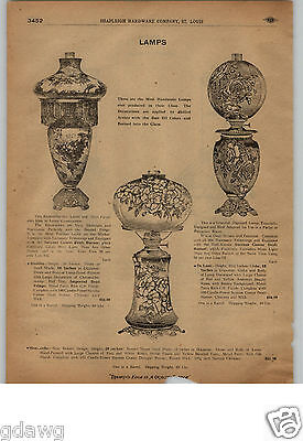 1913 PAPER AD 10 PG Double Globe Gone With The Wind Hurricane Table Painted Lamp
