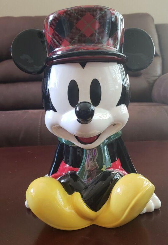 NIB ADORABLE Disney Store Mickey Mouse Holiday Cheer Christmas Cookie Jar