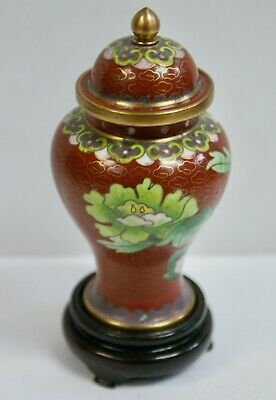 Pretty Floral Chinese Cloisonne Lidded Jar On Wooden Stand, 12cm Tall