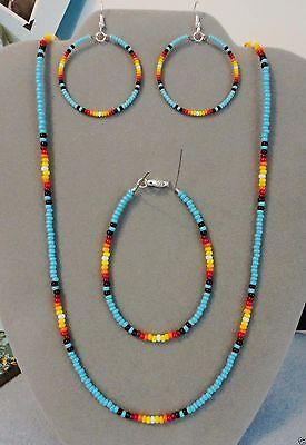Blue Turquoise Sunburst Beaded Necklace, Earring, Bracelet Set ~Native American