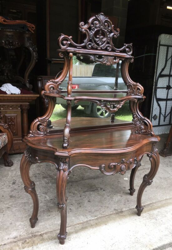 19th. c. CARVED ROSEWOOD ROCOCO ETAGERE