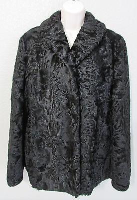 Vtg Molda Women's Black Lamb Fur Jacket Coat Size 12 With Cap Hat Size 7 - 7 1/8