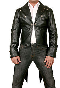 Mans-100-REAL-LEATHER-Black-TAILCOAT-Steampunk-Jacket-Morning-Dress-Coat-GOTH