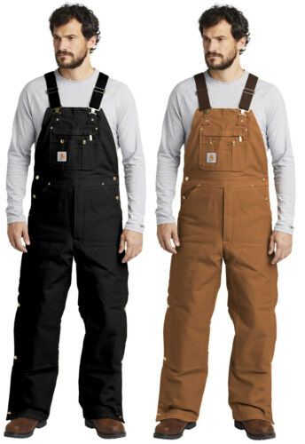 Carhartt Duck Quilt-Lined Zip-To-Thigh Bib Overalls Workwear Quilted Overall R41