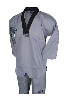 Taekwondo Ribbed Fabric Black-V Grey Uniform Size 3 (170)