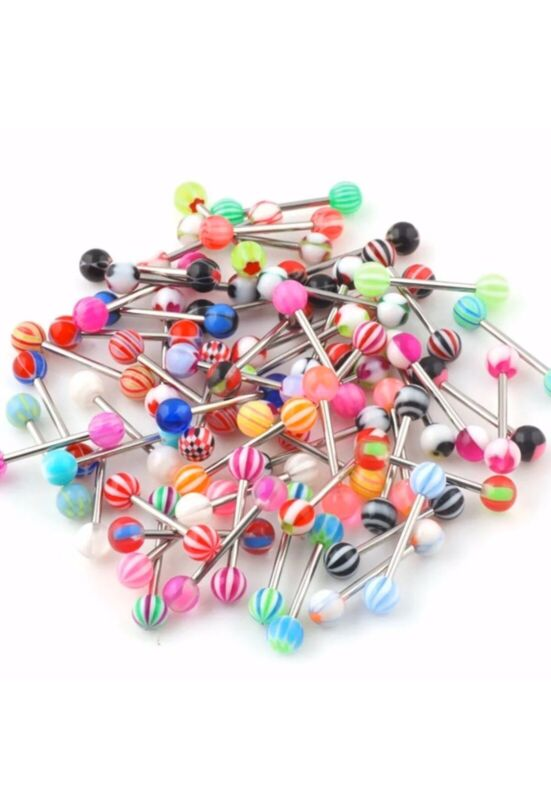 "Wholesale Lot 10PC Tongue Body Jewelry 14g 5/8""-NO DUPLICATE!!!"